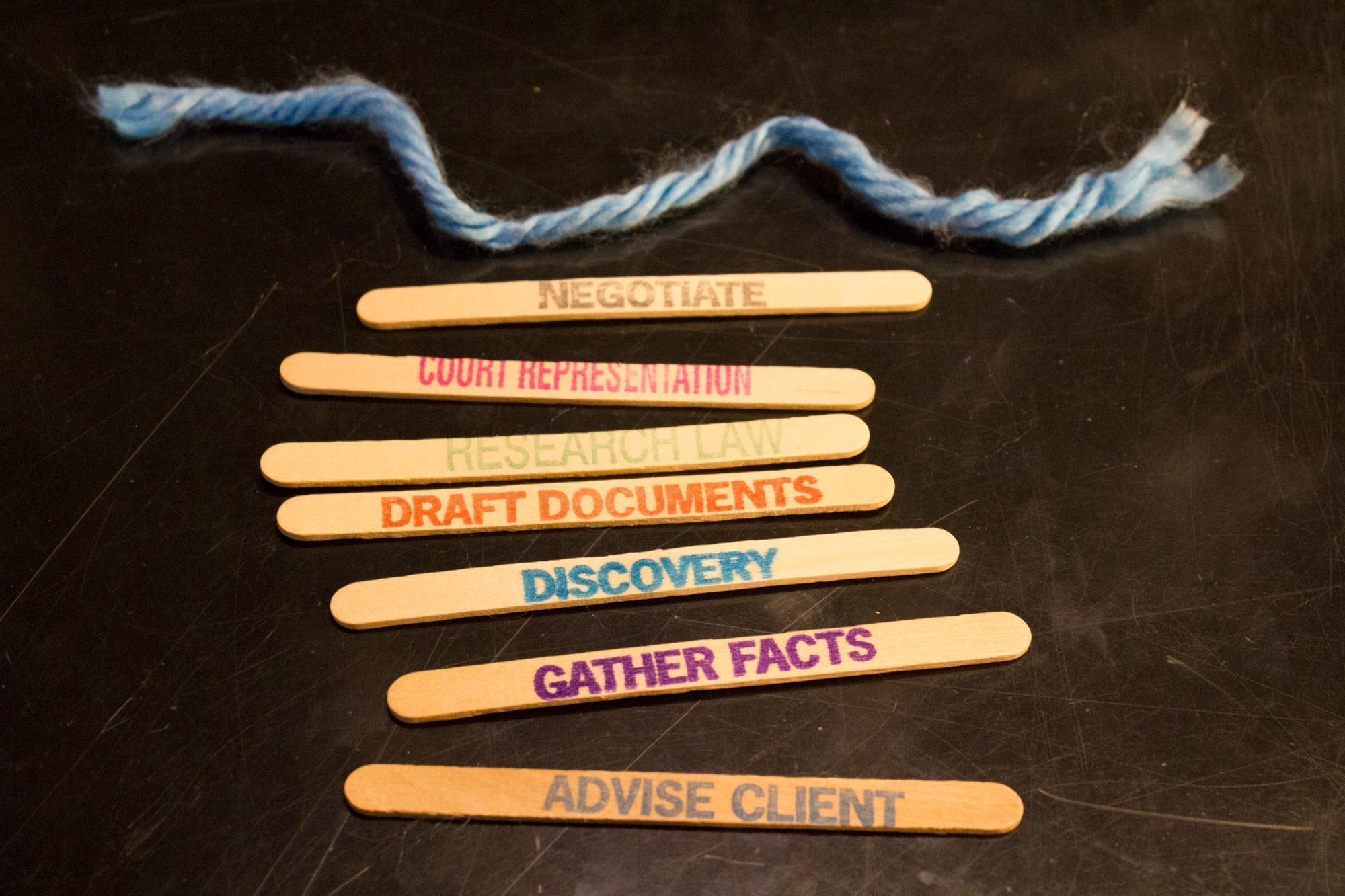 """A la carte legal services allow a client to hire an attorney for specific tasks, as illustrated by these """"unbundled"""" sticks."""
