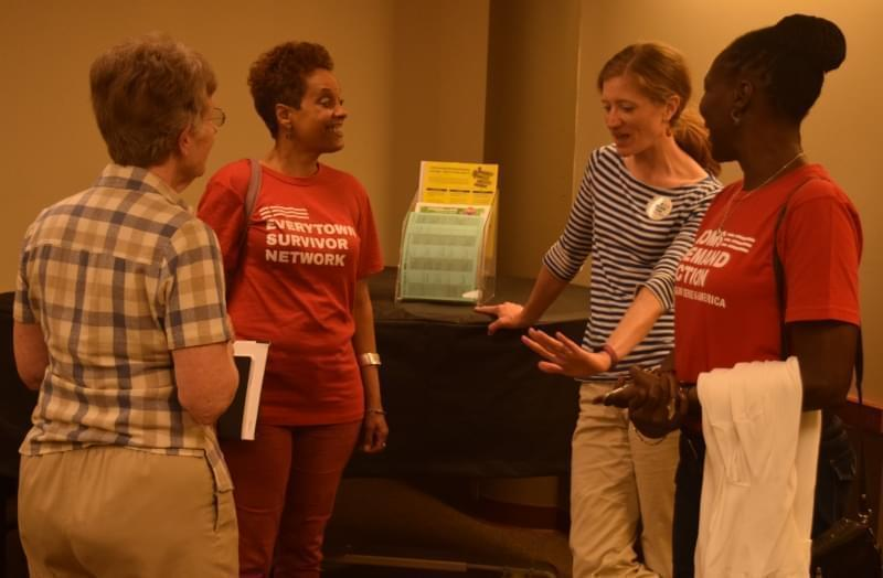 Community members gathered at the Urbana Free Library on Tuesday evening to hear stories of those affected by gun violence and to learn more about the Everytown Survivor Network—an initiative of Moms Demand Action.