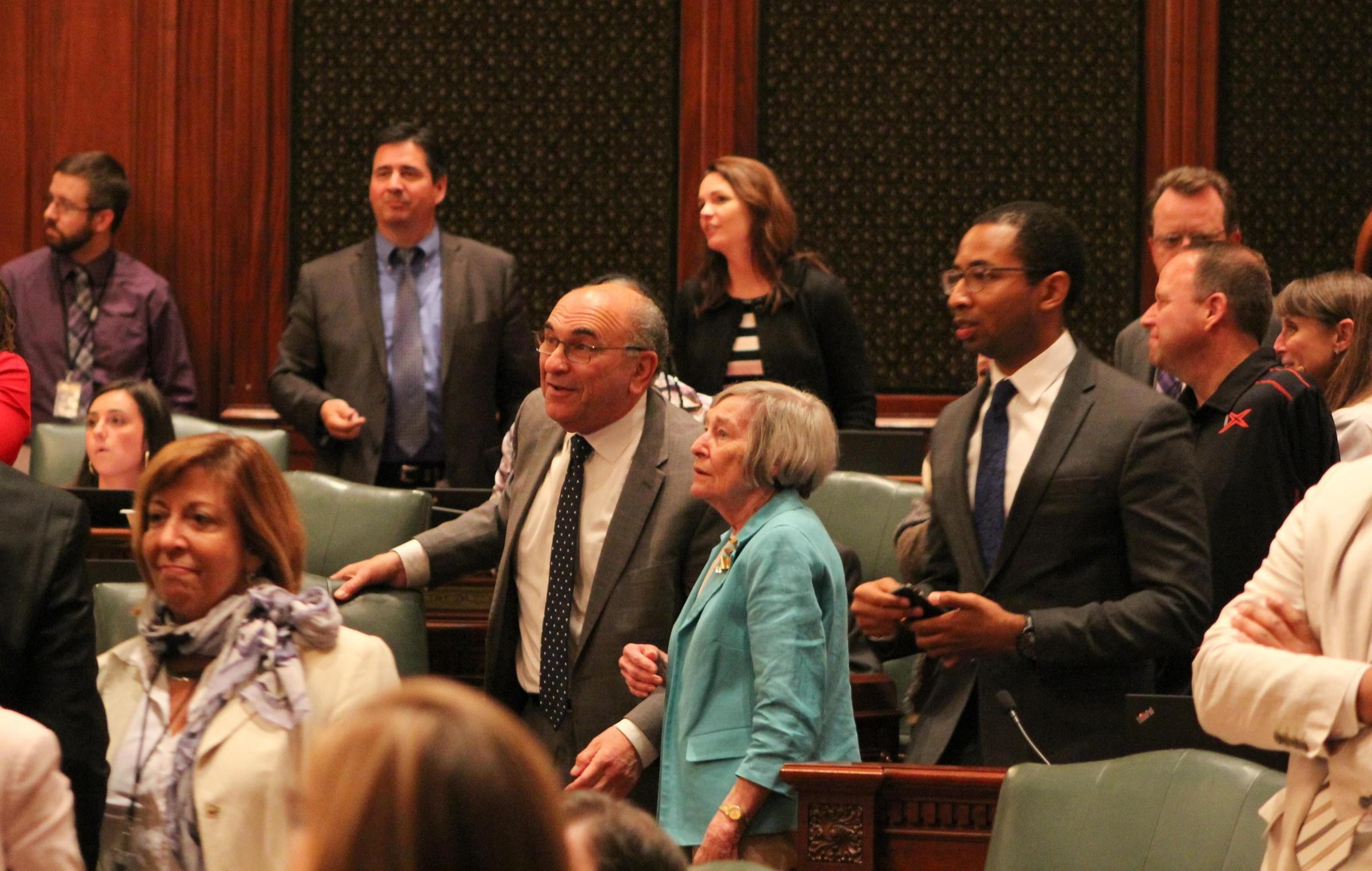 State Rep. Lou Lang and Majority Leader Rep. Barbara Flynn Currie watch the roll call verification as the Illinois House passes the ERA.