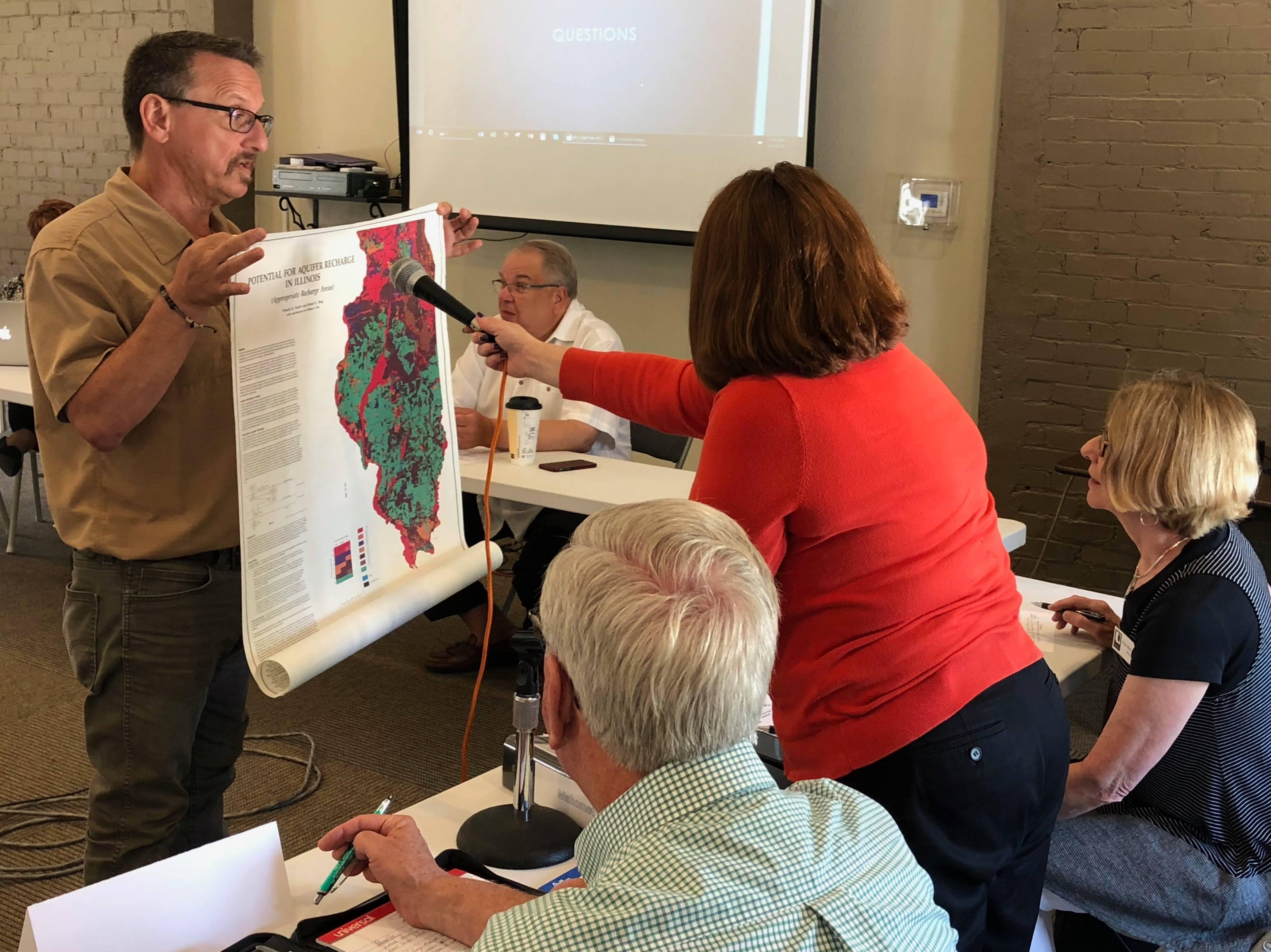 Illinois Environmental Protection Agency's Rick Cobb shares information at a Mahomet Aquifer Task Force meeting on Friday in Monticello.