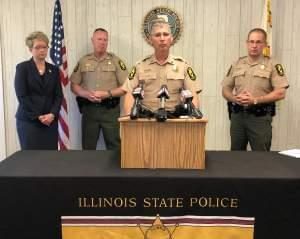Illinois State Police Captain Jason Henderson spoke at a press conference at State Police District 10 Headquarters in Pesotum, offering details about the arrest of Kevin L. Casey--a suspect in an ongoing investigation regarding a string of incidents