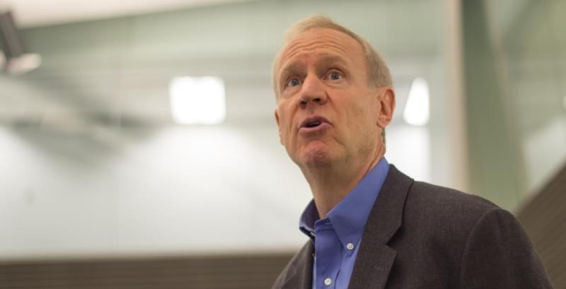 Gov. Bruce Rauner addresses employees at the Illinois Emergency Management Agency in this 2015 file photo.