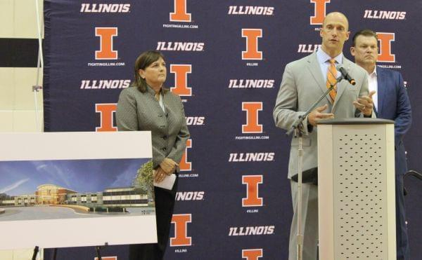 Nancy Fahey, Josh Whitman, and Brad Underwood (left to right) announce a planned $30 million renovation and expansion of the Ubben Basketball Practice Facility on Monday.