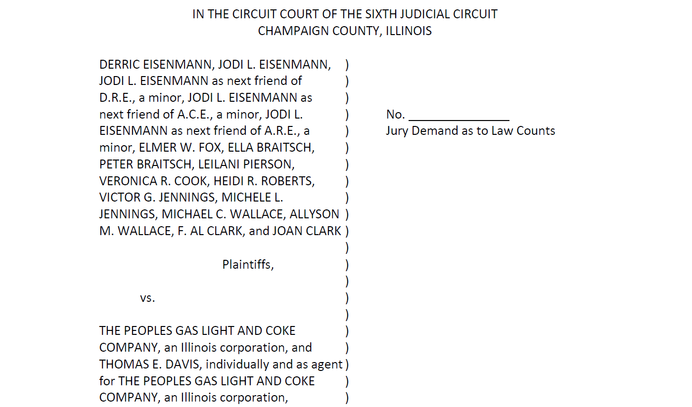 Front page of the complaint against Peoples Gas filed in Champaign County Circuit Court.