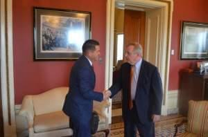 US Senator Dick Durbin (D-Illinois) meets with Republcian state Senator Kyle McCarter, from downstate Lebanon, at his office in Washington, D.C. on June 13.
