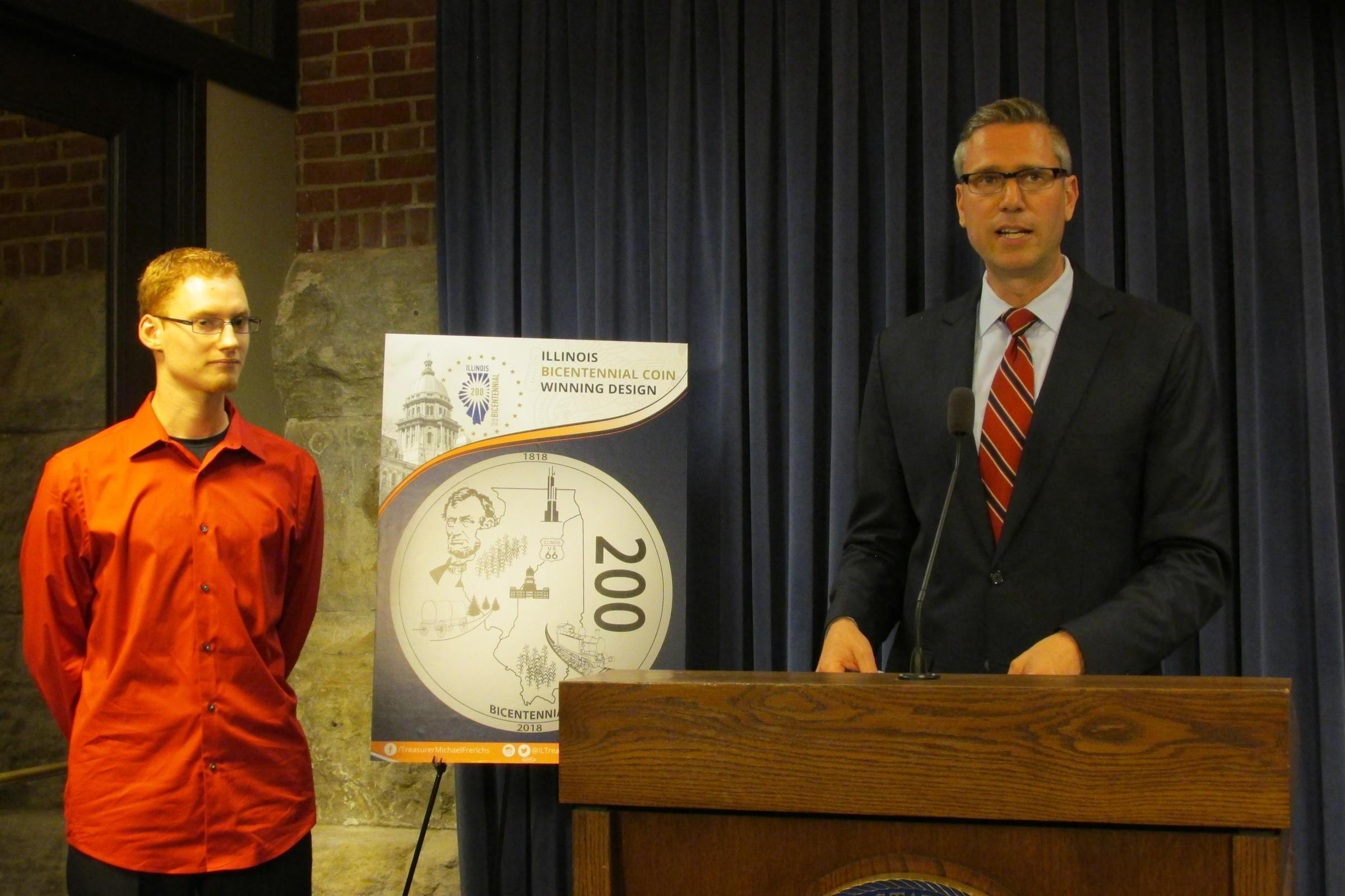 Illinois Treasurer Mike Frerichs announces the winning coin design