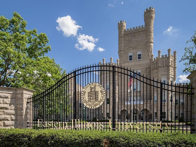 The Old Main Building and gate at Eastern Illinois University