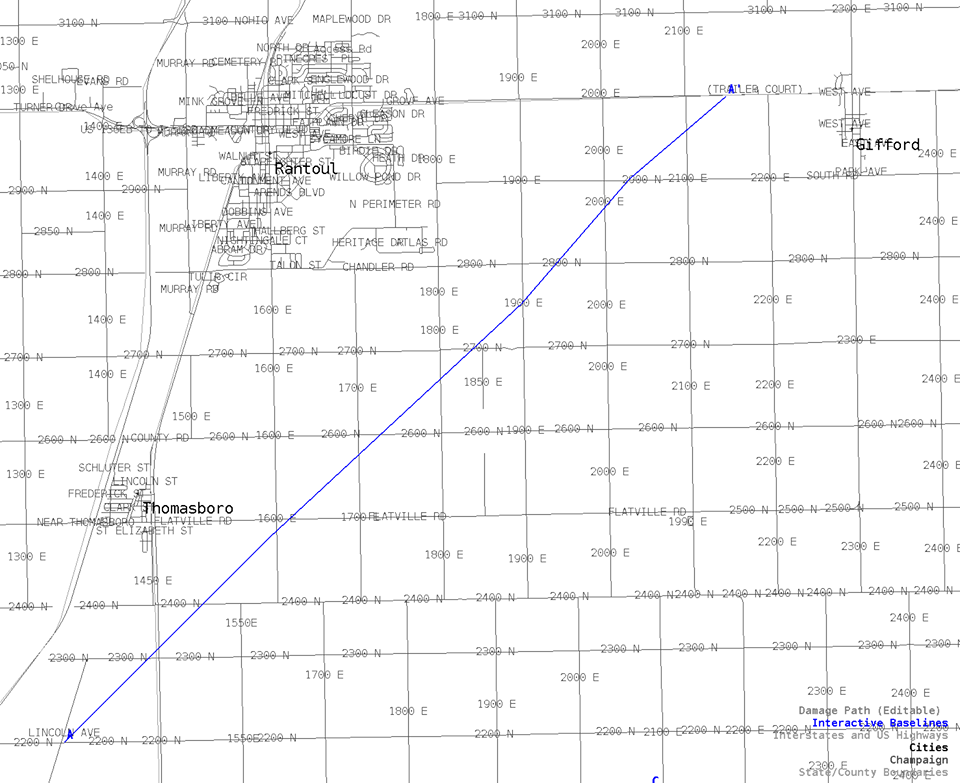 Map showing path of tornado through Champaign County on Tuesday night.