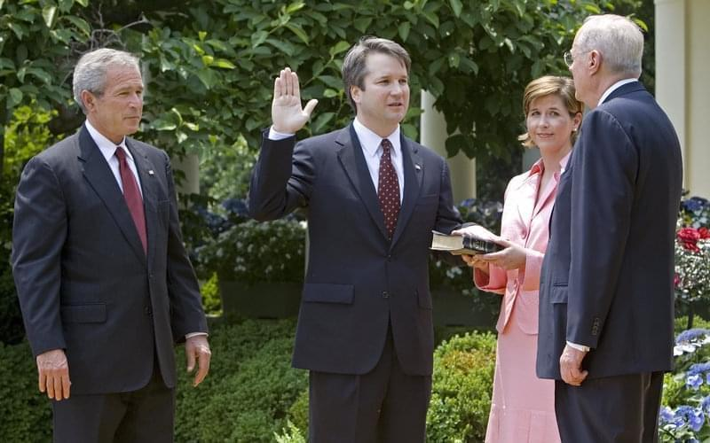 Brett Kavanaugh being sworn in as a federal judge by Supreme Court Justice Anthony Kennedy in 2006.