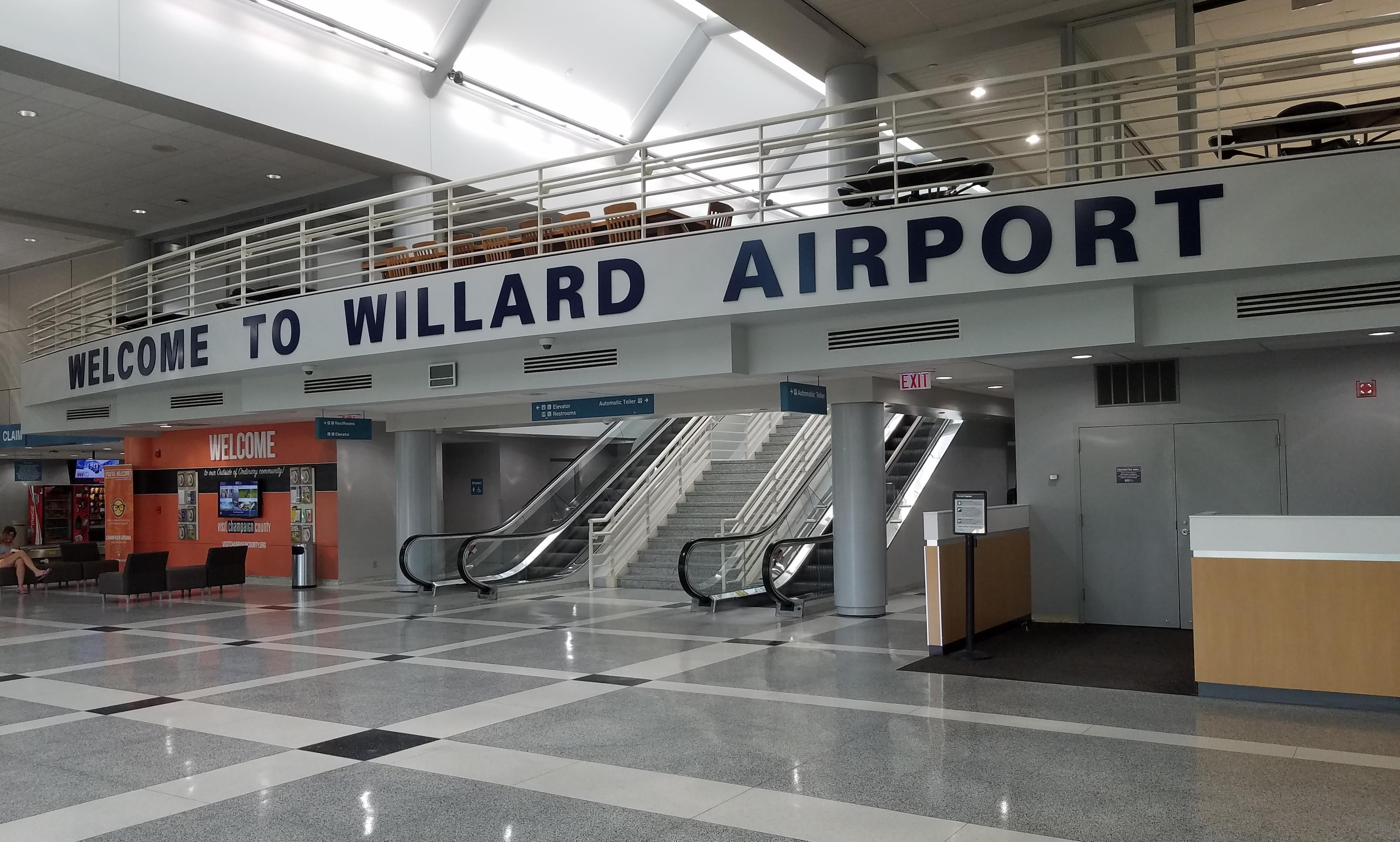 Lobby of Willard airport terminal building.