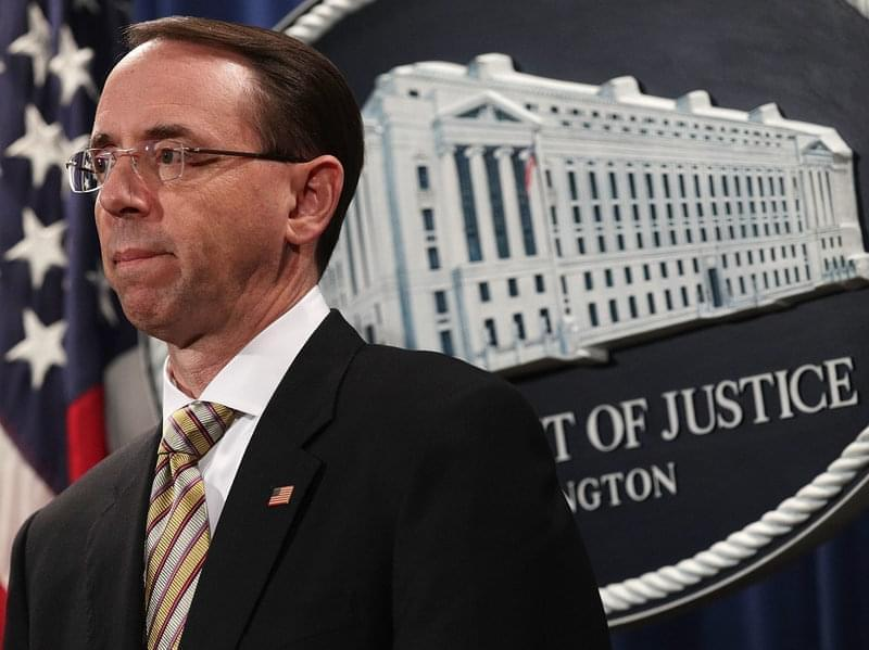 Deputy U.S. Attorney General Rod Rosenstein convened a press conference at the Justice Department on Friday.