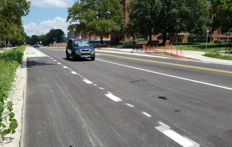 Green Street in Urbana between Goodwin and Lincoln Avenues, just after being reopened following MCORE Project reconstruction work.