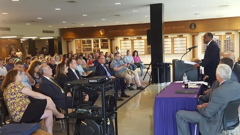The realignement announcement on WIU's Macomb campus.