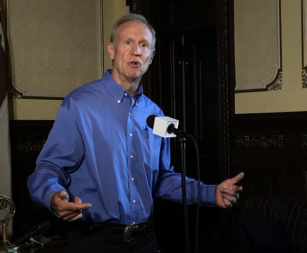 Gov. Bruce Rauner speaks with reporters Tuesday, July 17, 2018 in his ceremonial office at the Illinois Statehosue.
