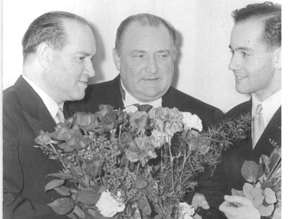 Igor Oistrakh (right) in 1957, with his father David (left) and conductor Franz Konwitschny (middle).