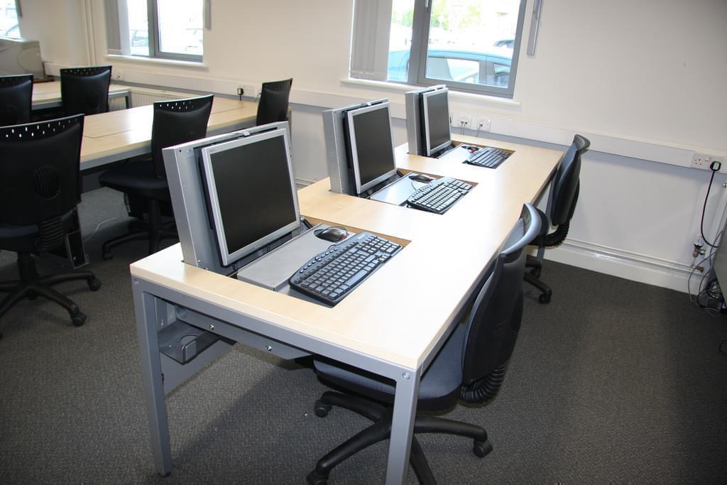 Computers in a school classroom.