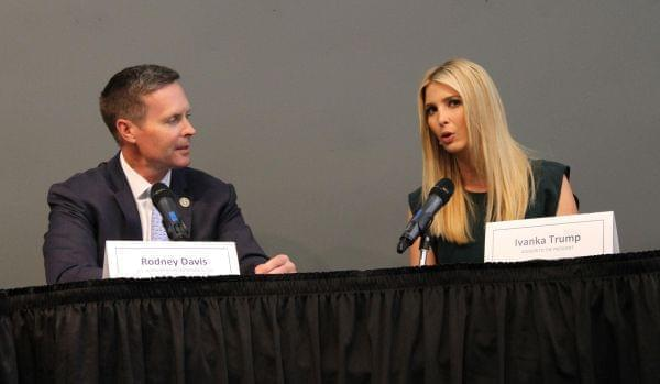 Illinois Republican Congressman Rodney Davis, left, and Ivanka Trump discuss workforce development in Godfrey.