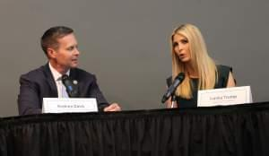 Illinois Republican Congressman Rodney Davis, left, and Ivanka Trump discuss workforce development in Godfrey.