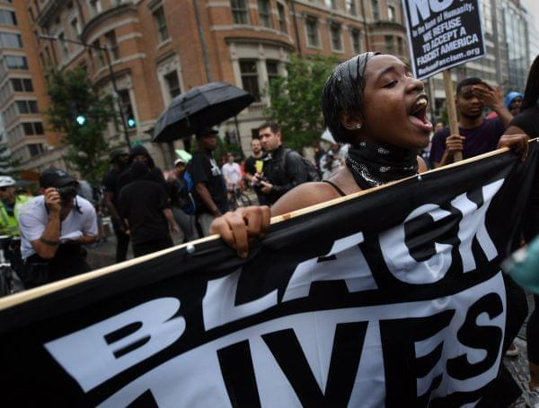 Counterprotesters stage a protest against right wing extremists' 'Unite The Right 2' rally.