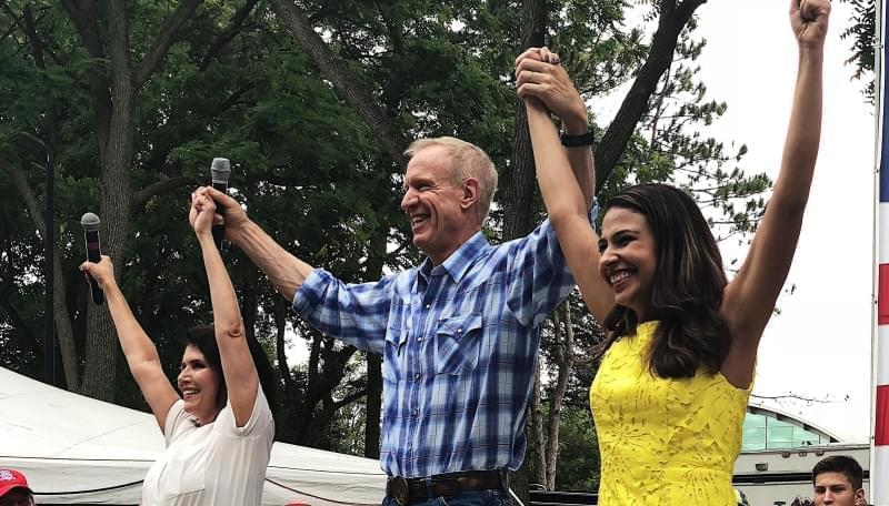 Lt. Gov. Evelyn Sanguinetti, Gov. Rauner & AG candidate Erika Harold during Governor's Day rally September 15, 2018.