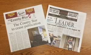 Front pages of the Leader and County Star, announcing end of publication.