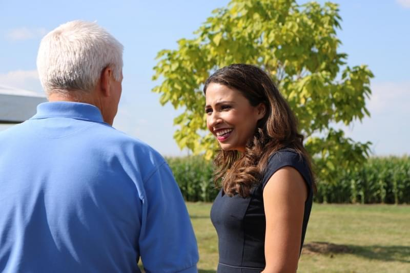 Republican candidate for Illinois Attorney General Erika Harold at an Illinois Agriculture Roundtable Forum at Rader Family Farm in Normal on August 22, 2018.