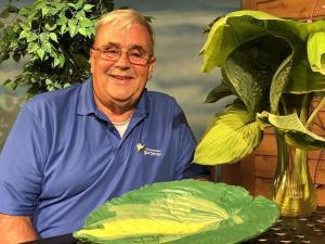John Bodensteiner and a hosta plant