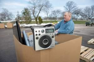 An electronics recycling event in Milwaukee in April.