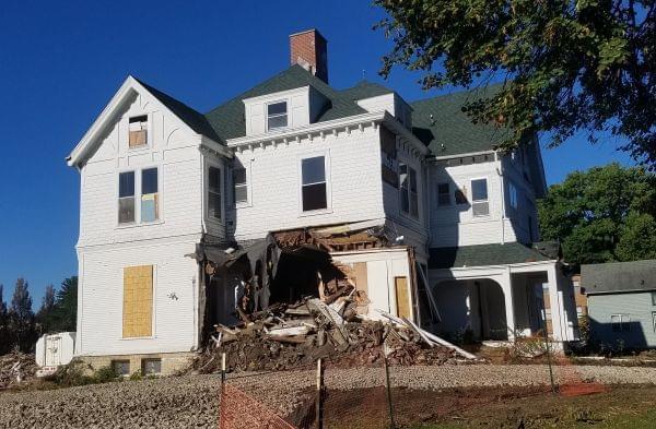 Demolition under way at the Burnham Mansion in Champaign.