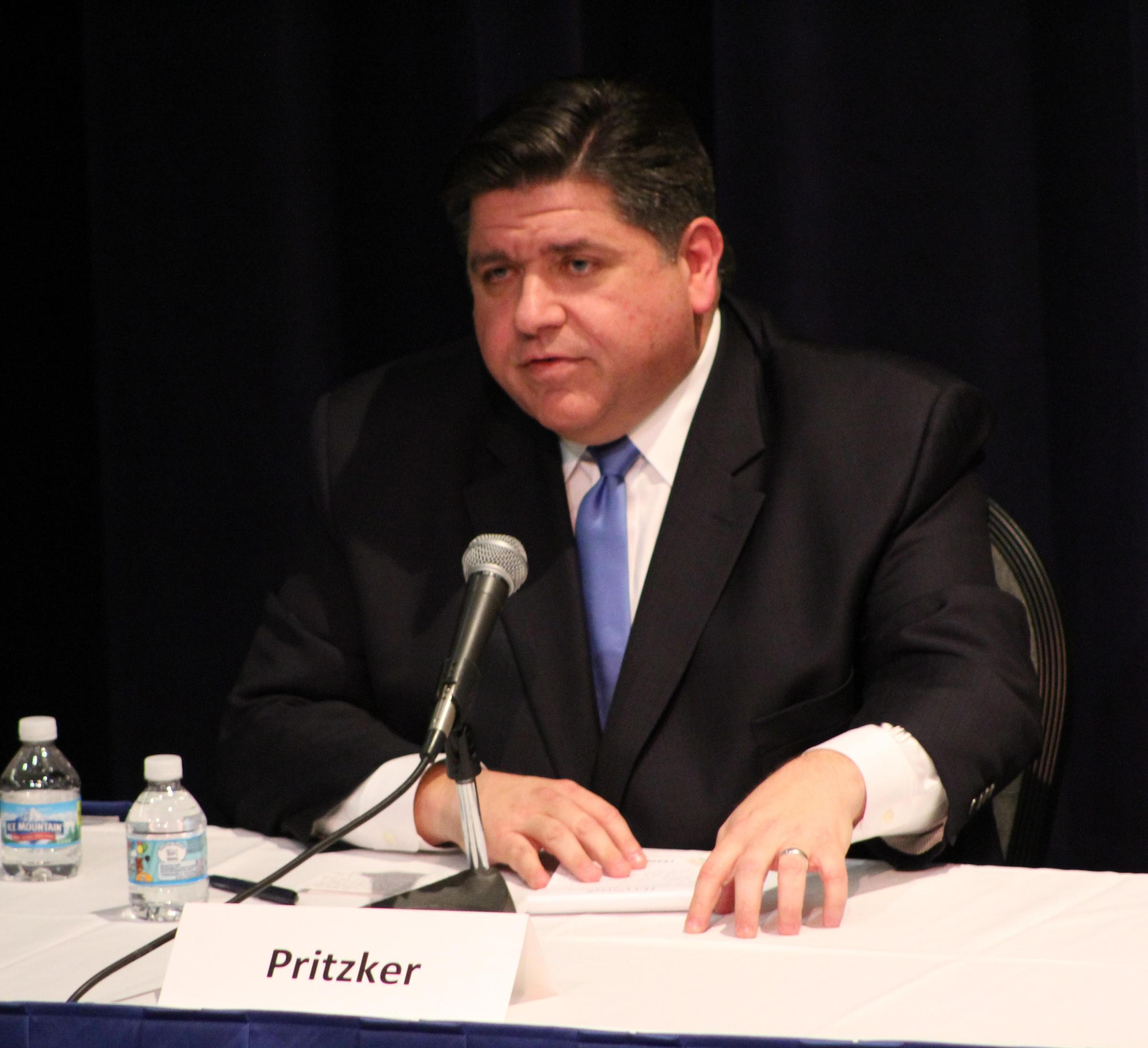 J.B. Pritzker participates in a debate before the Democratic gubernatorial primary, which he would go on to win.