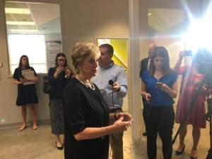 SBA Administrator Linda McMahon speaks with reporters after a tour of startup companies housed at EnterpriseWorks at the University of Illinois Research Park.