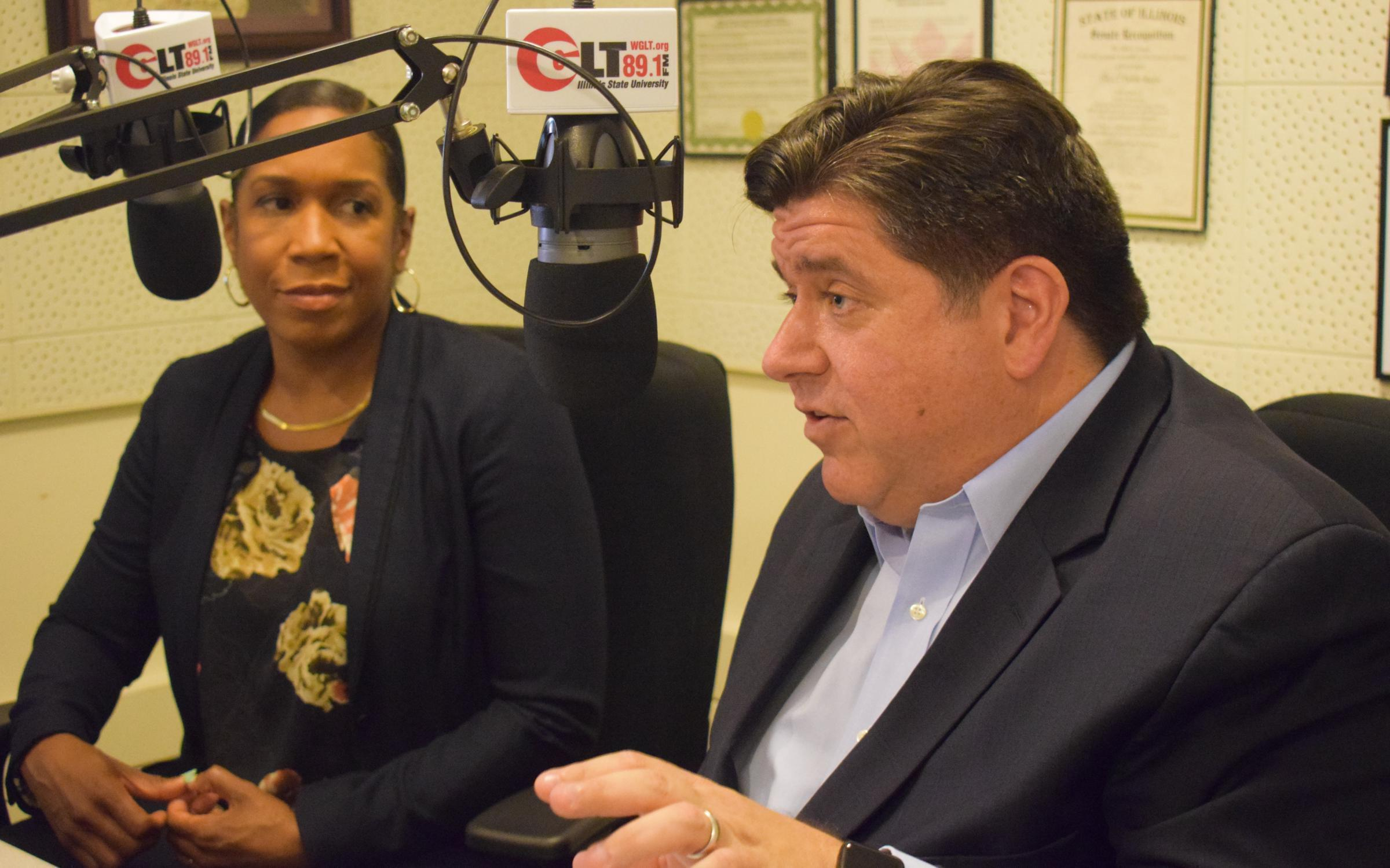 Democratic candidate for governor JB Pritzker in the WGLT studio with his running mate, Juliana Stratton, on Wednesday, Sept. 26, 2018.