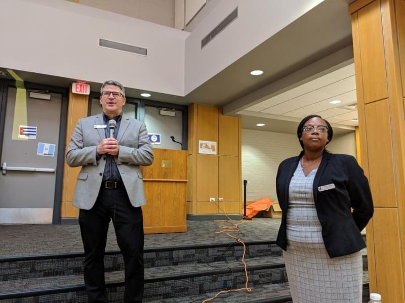 Urbana District 116 Superintendent Don Owen and Urbana High School principal Deloris Brown stand in the cafeteria of Urbana High School.