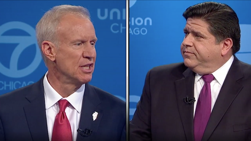 Republican Gov. Bruce Rauner, left, and Democrat J.B. Pritzker during the second of three gubernatorial debates this year.