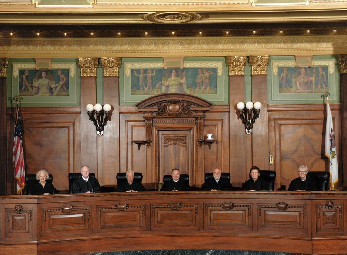 Portrait of current Illinois Supreme Court justices.