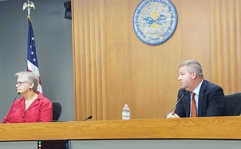 Candidates for Champaign County Executive, Democrat Darlene Kloeppel and Republican Gordy Hulten.