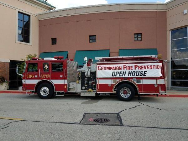 A Champaign fire truck outside  Market Place Shopping Center in Champaign for the department's fire prevention week.