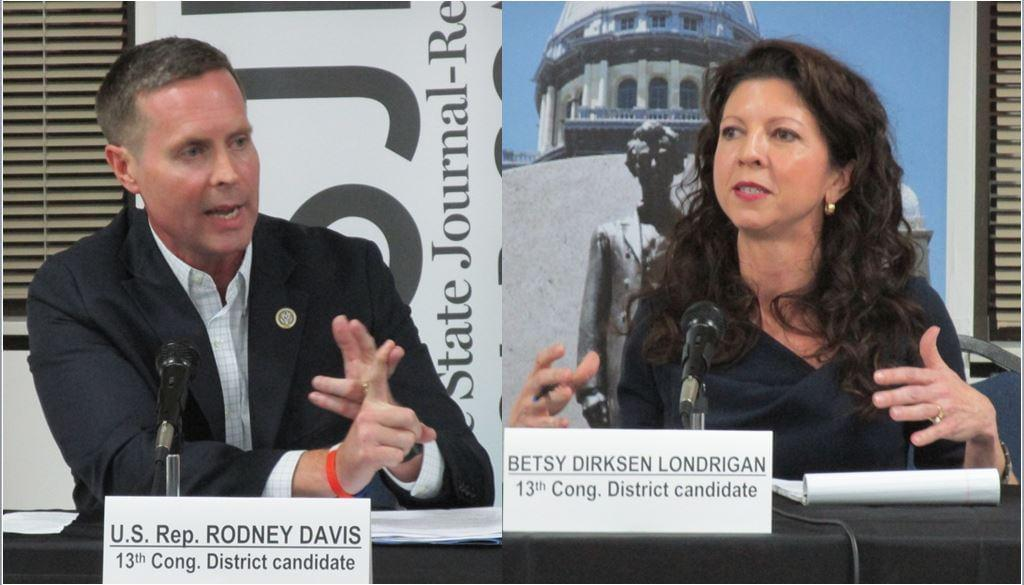 Republican Davis (left) and Democrat Dirksen Londrigan enjoyed a overall temperate exchange Monday night, but lobbed their fair share of pointed attacks at the Oct. 15 debate.