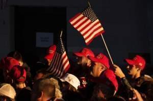 The audience cheering on President Donald Trump at a rally for Rep. Mike Bost in Murphysboro, Illinois on October 27, 2018.