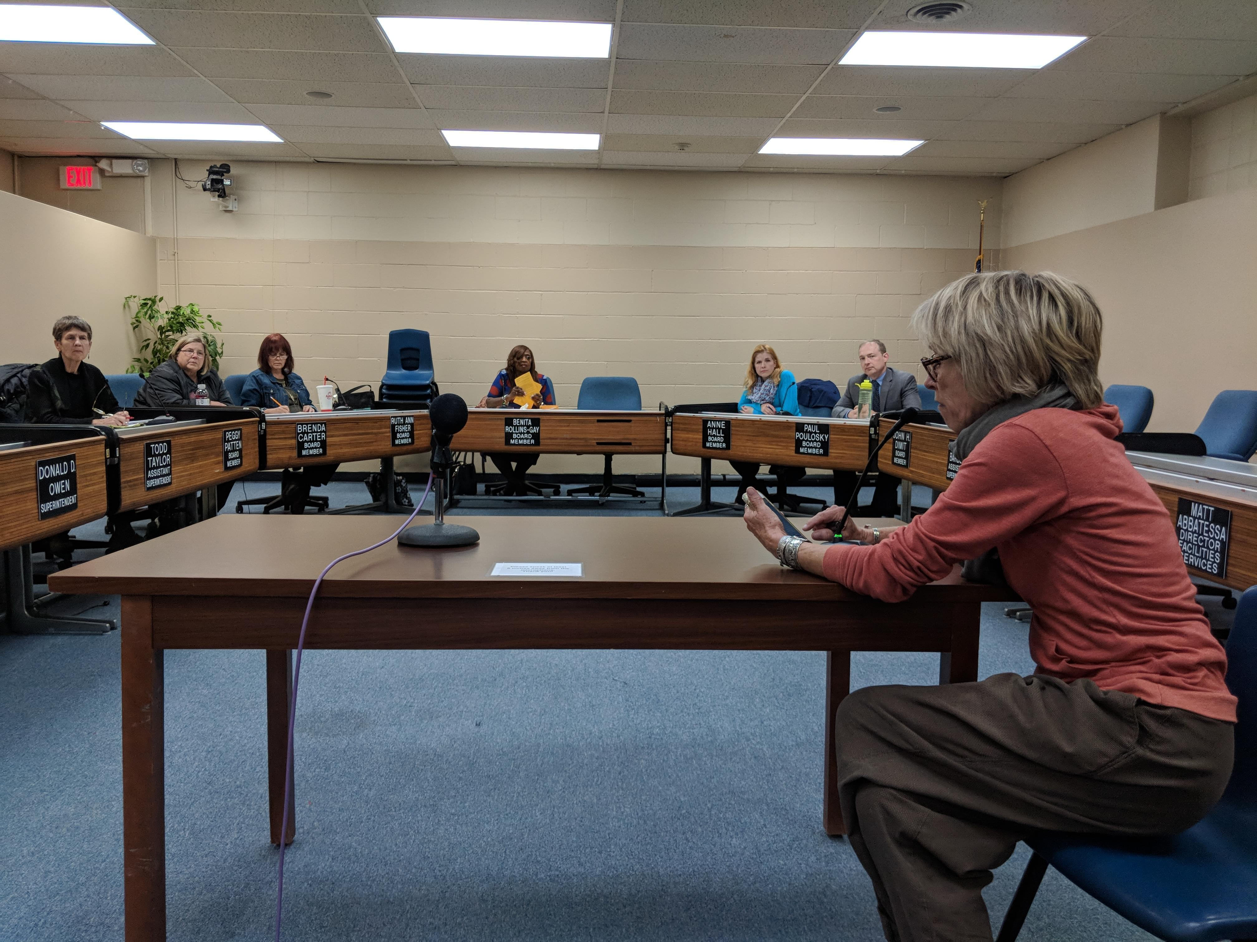 Shelley Washburne Masar speaks at an Urbana District 116 Board of Education meeting on Oct. 28, 2018.