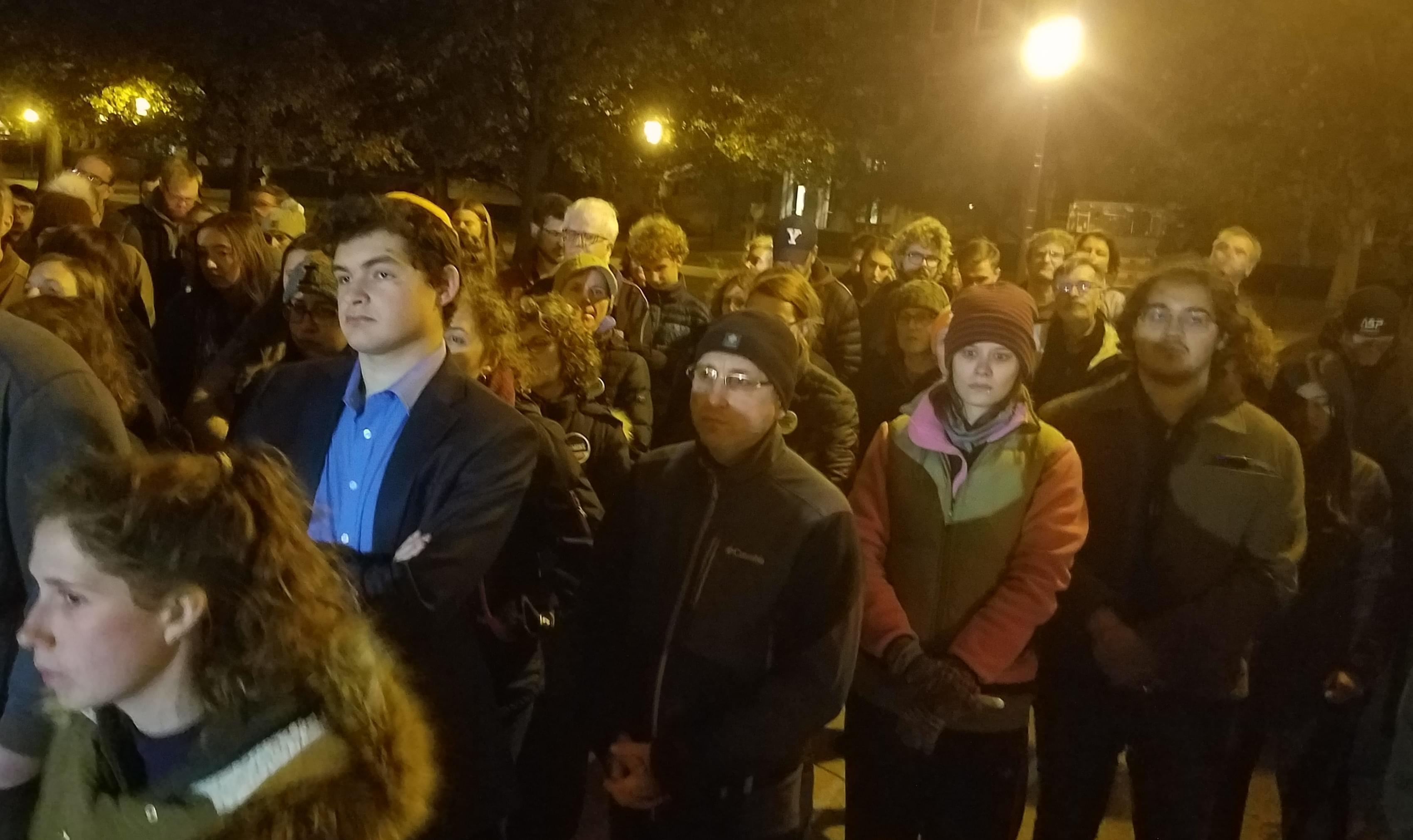 Vigil at University  of Illinois for Pittsburgh synagogue shooting victims.