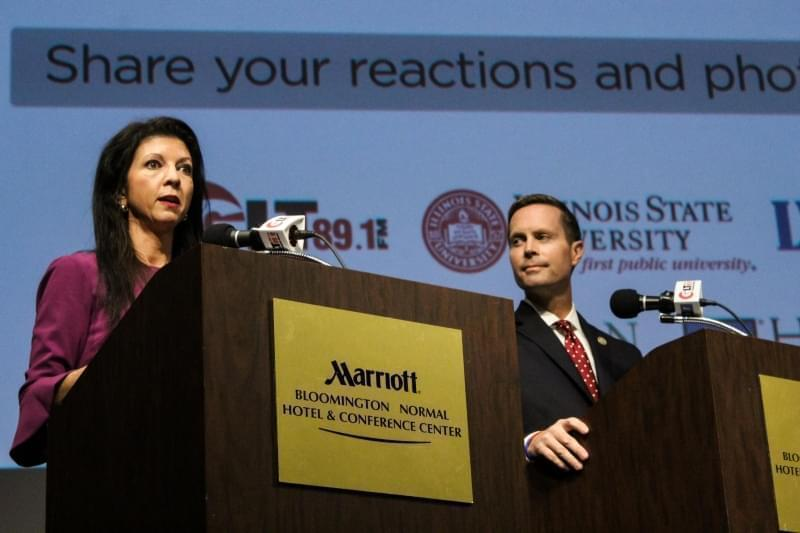 Democrat Betsy Dirksen Londrigan and Republican U.S. Rep. Rodney Davis at the WGLT debate on Monday, Oct. 29, 2018, at the Normal Theater.