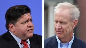 J.B. Pritzker, left, and Gov. Bruce Rauner