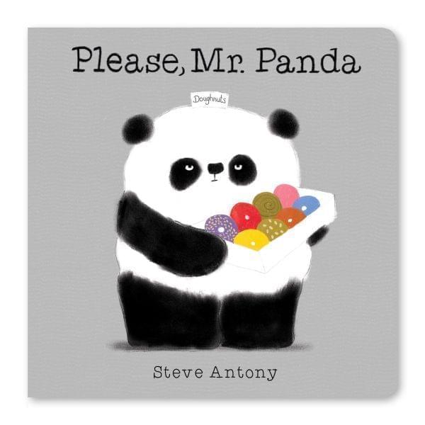 Book cover. Panda holding a box of doughnuts.