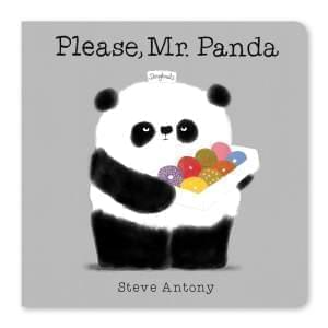 Book cover. Panda holding a box of doughnuts.