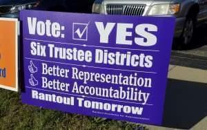 Campaign sign for the Rantoul Districting Referendum.