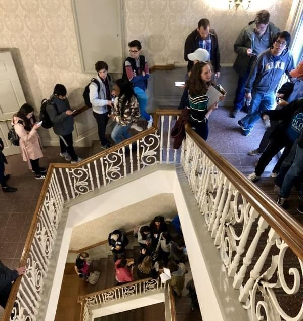 Students in line to vote early at the Illini Union on Nov. 5, 2018.