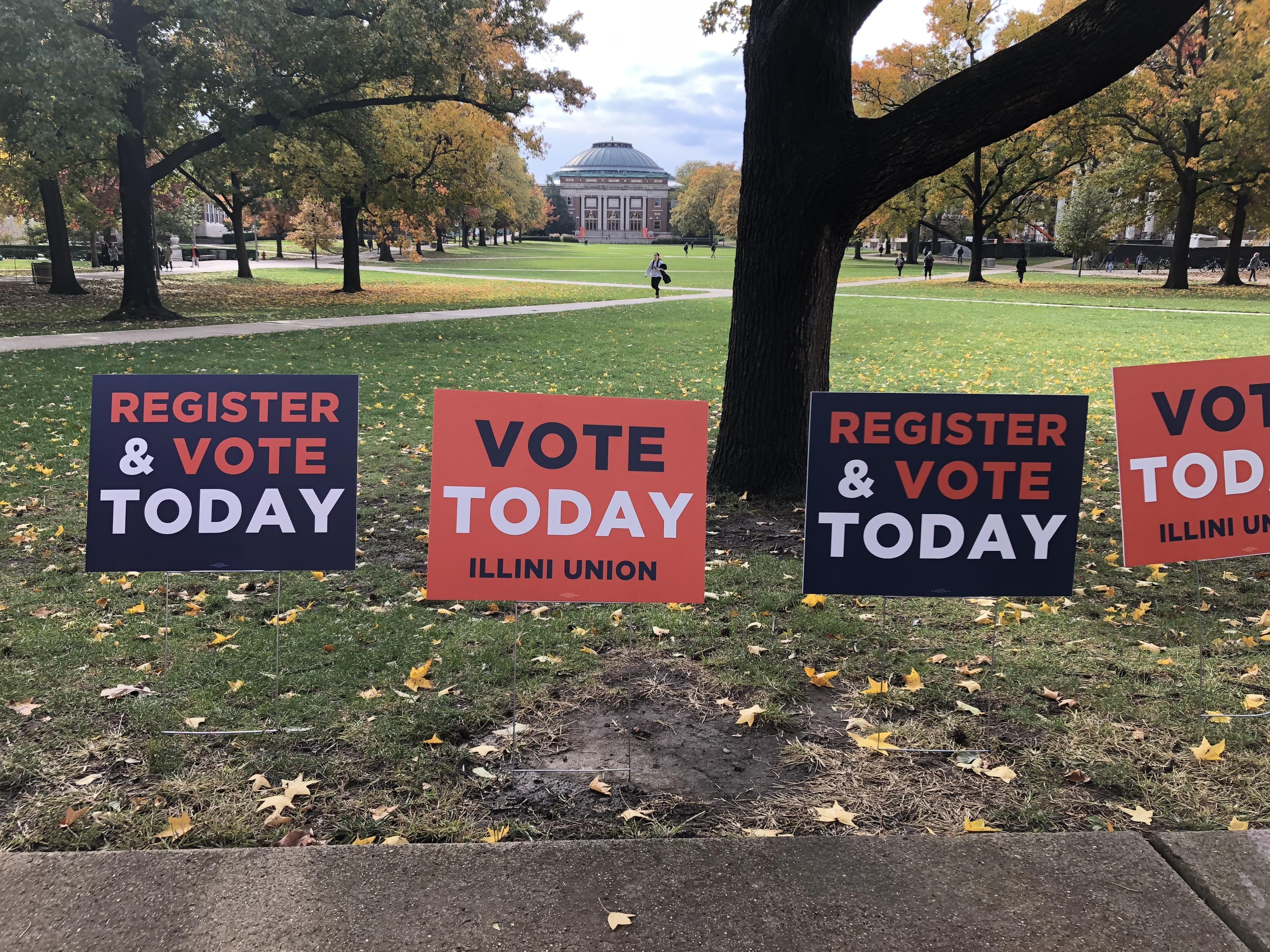 Signs outside the Illini Union for the November 2018 midterm election.