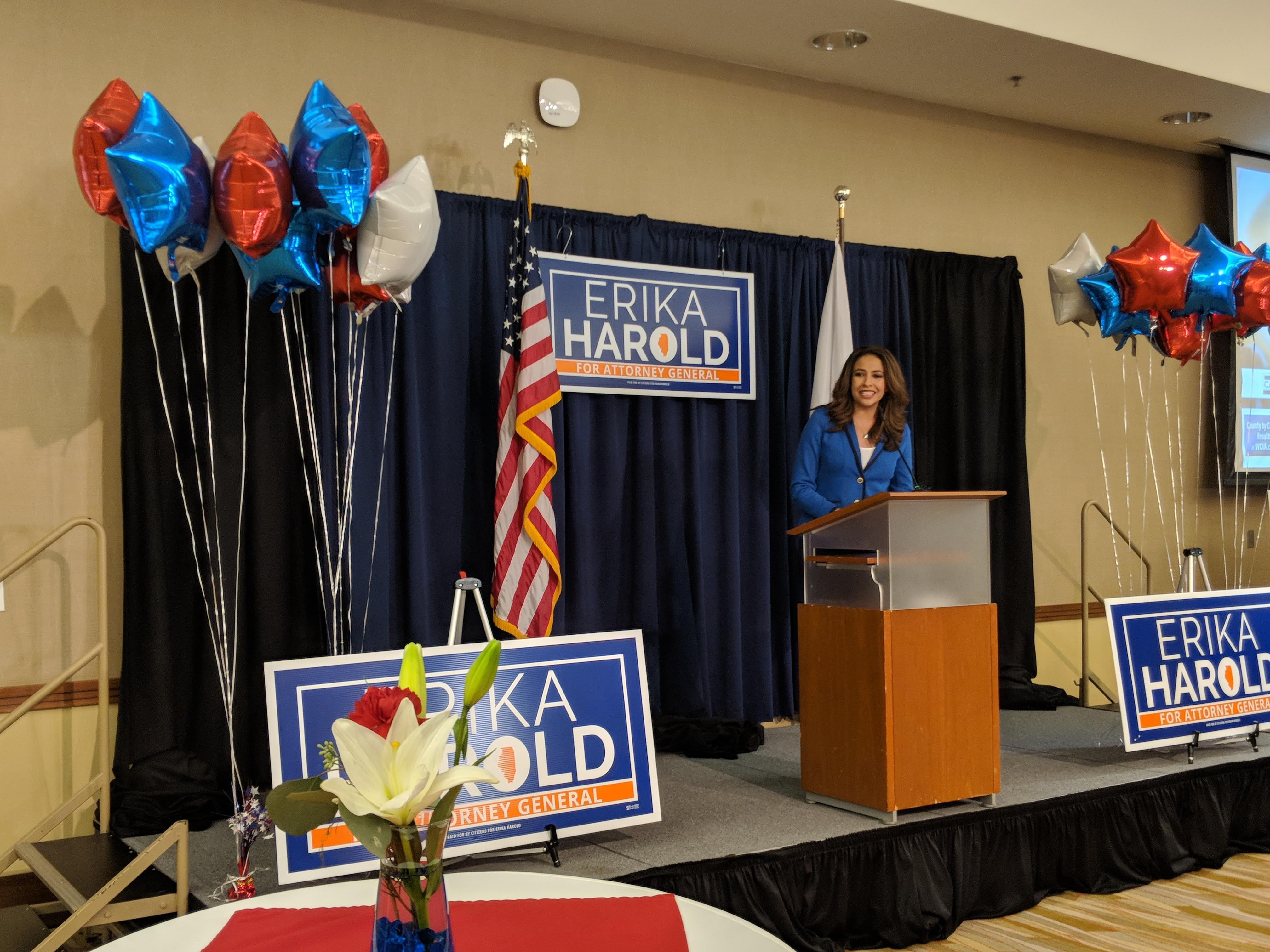 Republican Erika Harold announced she had conceded to her Democratic opponent, Kwame Raoul, in the race for Illinois Attorney General at an election night viewing party at the I-Hotel in Champaign on Tuesday, Nov. 6, 2018.