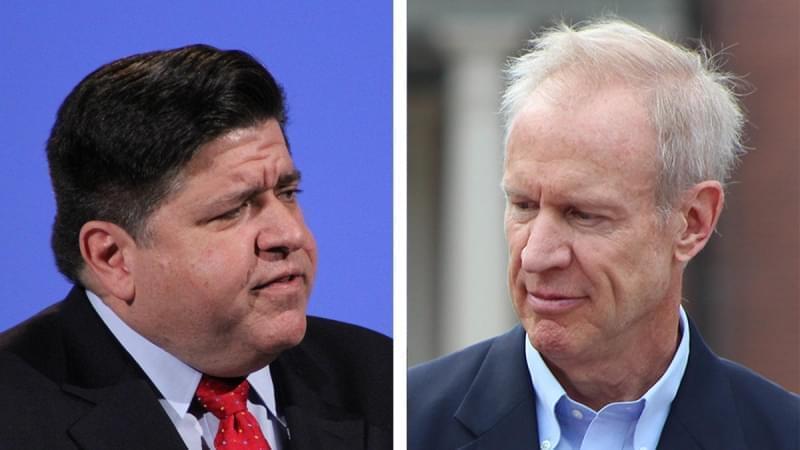 J.B. Pritzker, left, and Gov. Bruce Rauner